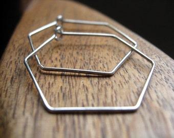 hexagon earrings. sterling silver hoops. silver wire jewelry.