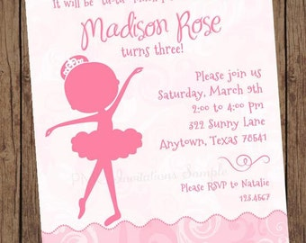 Princess Ballerina Girl Silhouette Birthday Invitations - 1.00 each with envelope