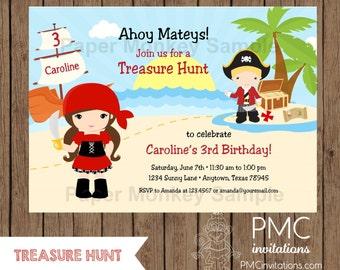 Custom Printed Boy or Girls Treasure Hunt, Pirate  Birthday Invitations - 1.00 each with envelope