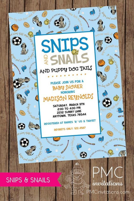 Snips and Snails and Puppy Dog Tails Baby Shower Invitations ...