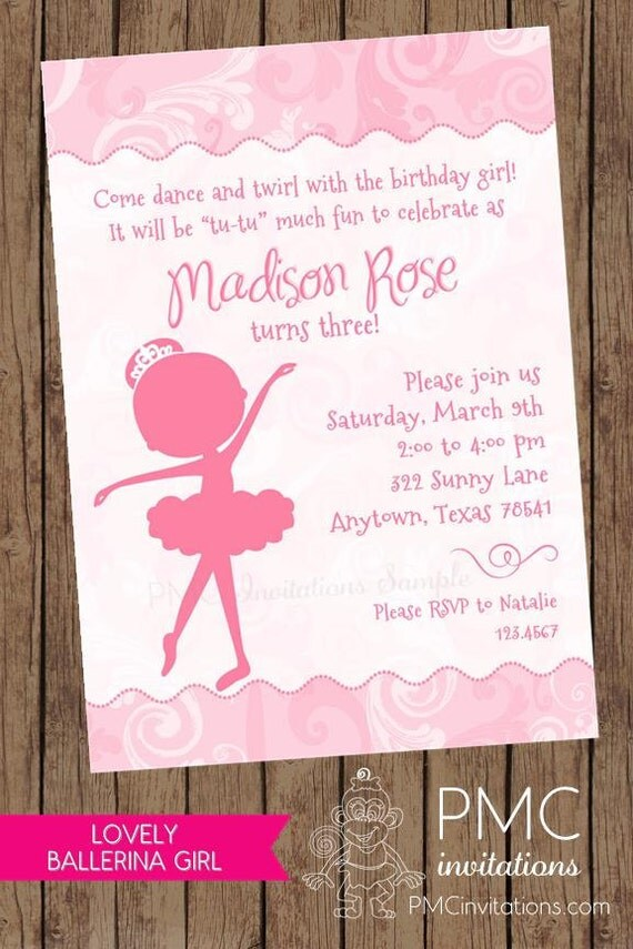 Princess Ballerina Girl Silhouette Birthday Invitations - 1.00 each ...