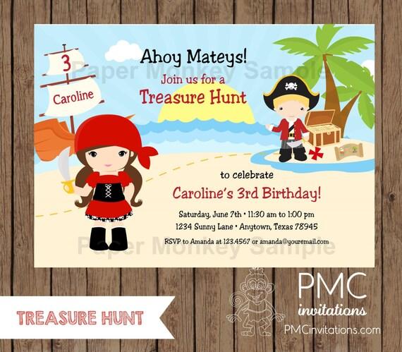 Custom printed boy or girls treasure hunt pirate birthday il570xn filmwisefo
