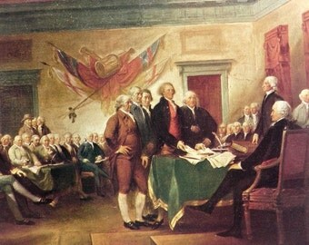 Vintage 50s print of The Declaration Of Independence by Trumbull Americana historical oil painting 1700s pioneers founding fathers patriotic