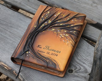 Large Leather wedding guest book 13 x 9 inch Tree of life  Bridal Shower Anniversary Engagement