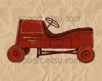 Pedal Car Vintage Toy -Original Illustrate Drawing  A4 Print transfer on Pillows, t-shirts, scrapbook, lampshades  ETC.v
