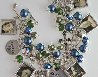 Photo charm bracelet, grandma gift, personalized jewelry, mothers jewelry, picture bracelet, anniversary gift