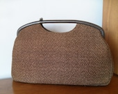 Vintage Brown Woven Textured Purse 50s 60s Mad Men Atomic Mod Fall Autumn by JR Florida USA