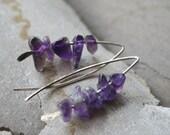 AMETHYST silver earrings Simple design Purple Amethyst Sterling Silver Minimalist Arch Earrings
