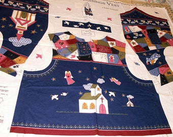Vintage Crazy Quilt Look COUNTRY BLESSINGS Adult Vest Fabric Panel Church Angels Scripture