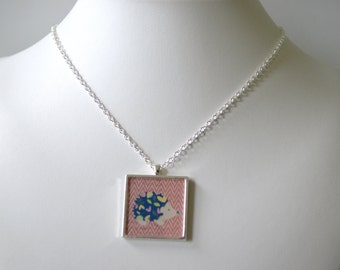Pink Chevron Hedgehog Sqaure Necklace with Heart on the Back   Great Gift Idea