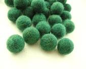 Felt Balls Green - 20 Pure Wool Beads - Forest Green Shade -   (W211)