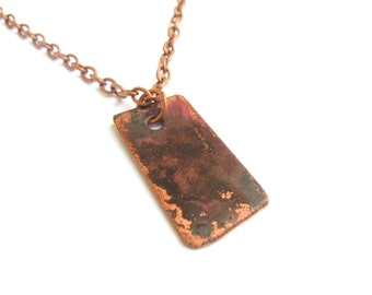 Flame Colored Red and Black Copper Oxidized Rustic Pendant Necklace