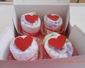 Valentine Hearts Diaper Cupcakes Set of Four.