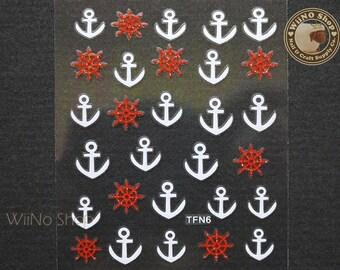 White Anchor Red Ship Wheel Adhesive Nail Sticker Nail Art - 1 pc (TFN6)
