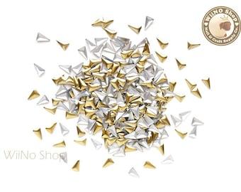 3 x 5mm Gold Skinny Triangle Metal Studs Flat Back Nail Art - 50 pcs