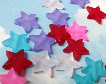 50 multicolored star beads, frosted plastic, 14mm, SALE
