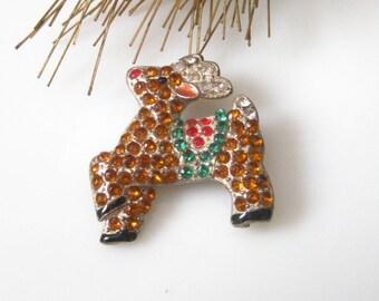 Vintage Rhinestone Rudolph Reindeer Pin Brooch