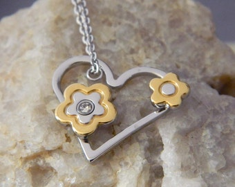 Stainless Steel Heart with Flowers Necklace