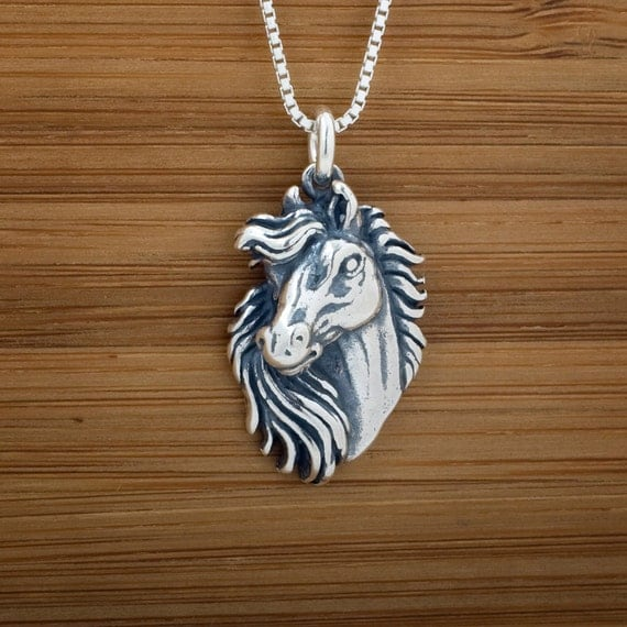 Horse 3D Pendant - STERLING SILVER - (Pendant, Necklace, or Earrings)