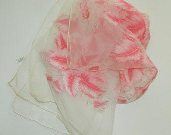 """Vintage Sheer Dark Pink Burn Out Autumn Leaves Botanical Design Scarf 17 x 47"""""""