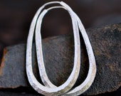 2 inch long oval hoop, sterling silver hoop, horseshoe hoop, raw silk texture or your choice of finish