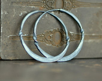 1.5 inch forged sterling silver hoops,  Medium endless loops, dark and twisted hoop, eco friendly