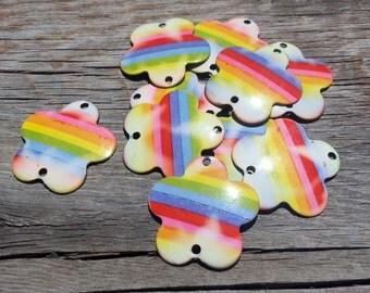 Rainbow Flower Charm Metal Ornaments 10 Pieces Jewelry Supply