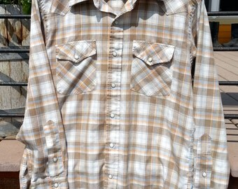Pen Westerner Snap Button Cowboy Shirt Size L Made in USA Retro Vintage