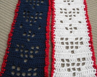 Scarf of Hearts, Hearts of Filet Scarf, Red Heart, Filet Hearts Scarf, Red, White & Blue, Shimmery Hearts, Valentine's Scarf