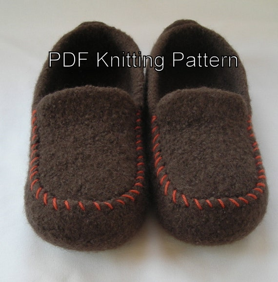 Mens Slippers Knitting Pattern : Knitting Pattern PDF Mens Felted Wool by lavenderhillknits