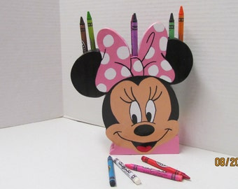 Minnie Mouse Crayon Holder~Wooden Toy~Wooden Minnie Mouse Crayon Holder~Crayon Holder for Girls~Birthday Gift~Toy for Girls, Toddlers~Artist