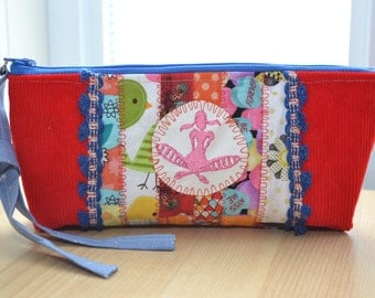 cosmetic bag, pencil pouch, zippered kit, storage items toilet makeup, Cosmetic Bags, patchwork kit, Organization, holiday gift, pencil box,