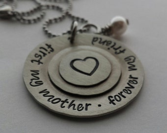 JBK Custom hand stamped First my mother . Forever my friend necklace