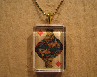 """Antique Playing Card King of Diamonds Flat Rectangle Glass Pendant with 24"""" Ball Chain Necklace"""