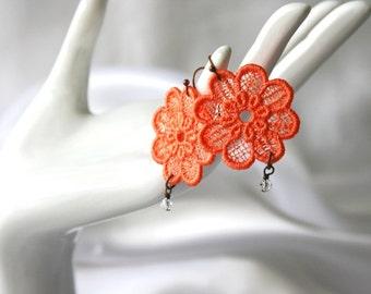 Dahlia EARRINGS Vintage Inspired - Wedding - Bridal - Tangerine Orange - Free Standing Lace Embroidery