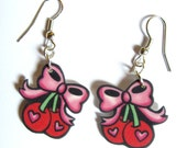Cherry Earrings Bow with Heart Drop by Dolly Cool