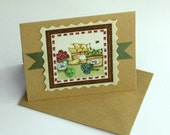 Fabric Embellished Blank Note Cards Country Style Set of 5