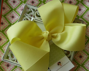 NEW ITEM-----Simple Sweet X X-Large 7 Inch Hair Bow----LEMON