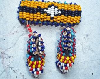 Vintage Native American Beaded Miniature Mocassins Trading Post Souvenir Trinket