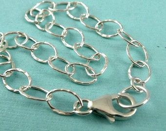 Sterling Silver Charm Bracelet Chain, FINISHED Hammered Cable , 2 PCS, 8x6mm Oval Link, Wholesale Chain, Select a Size