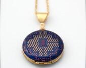"""Alyson Fox Vintage Art Locket Necklace """"Sticks"""" One Inch Size"""
