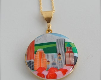 Portland Oregon Art Locket Necklace City of Roses
