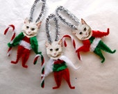 Cat Chenille Ornaments, Vintage Style,  Candy Cane, Trio of cats (117c)