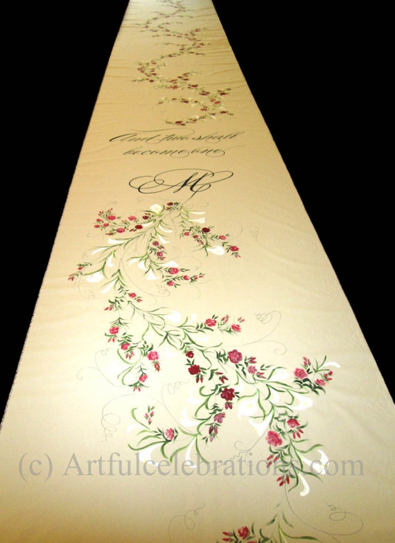 Custom Wedding Aisle Runner Hand Painted By ArtfulCelebrations