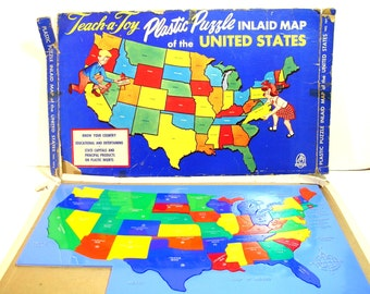 Vintage Hasbro Teach-A-Toy Plastic Puzzle Of The United States