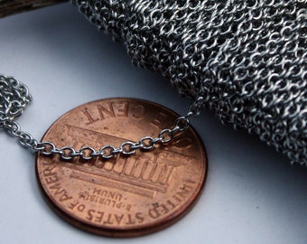 Stainless Steel chain bulk, 30 ft of Surgical Stainless Steel Small Soldered Sturdy cable chain - 1.55mm SOLDERED Link