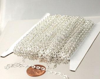 Sterling Silver Plated Texture Chain Bulk, 50 ft. of Flat Texture Oval Chunky Cable Chain - 4x3mm Unsoldered- Necklace Bracelet Chain