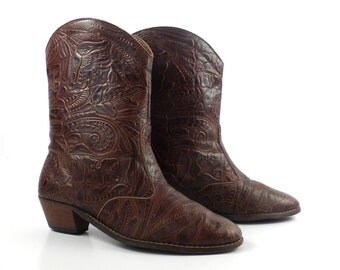 Tooled Cowboy Boots Vintage 1980s Tic tac toes Cowboy Women's size 8