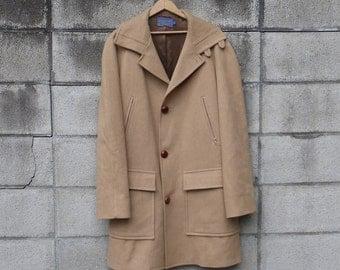 Pendleton Wool Coat Vintage 1970s Jacket Tan Brown Men's size 40