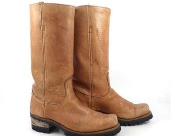 Frye Campus Boots Vintage 1970s Leather Tan Brown  Men's size 9 D Black Label